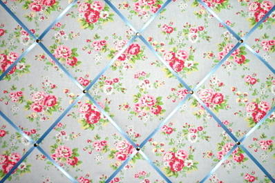 Large Cath Kidston Blue Spray Flowers Hand Crafted Fabric Notice / Pin / Me