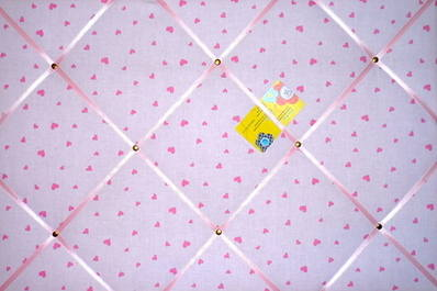 Large Laura Ashley Pink Sweetheart Heart Hand Crafted Fabric Notice / Pin /