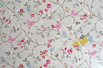 Large White Grey Clarke & Clarke Bird Trail Hand Crafted Fabric Notice / Pi