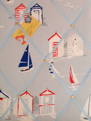 Medium Clarke & Clarke Beach Huts Hand Crafted Fabric Notice / Memory / Pin