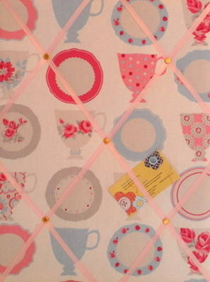 Medium Clarke & Clarke Tea Cups Hand Crafted Fabric Notice / Memory / Pin /