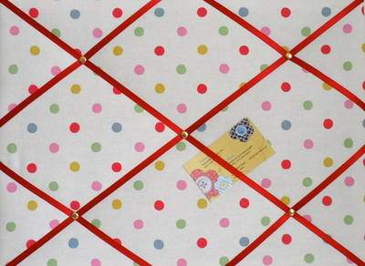 Medium Cath Kidston Dotty Hand Crafted Fabric Notice / Pin / Memo Board