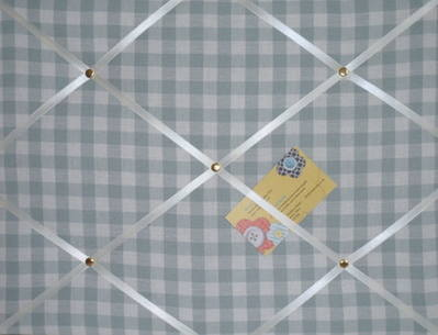 Medium Laura Ashley Duck Egg Blue Gingham Hand Crafted Fabric Notice / Pin