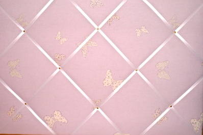 Extra Large Laura Ashley Pink Bella Butterfly Hand Crafted Fabric Notice /