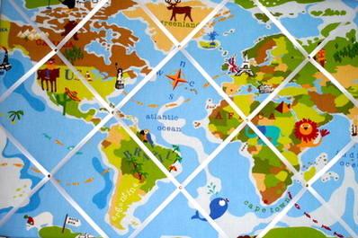 Extra large Prestigious Blue Children's World Map / Atlas Animal Hand Craft