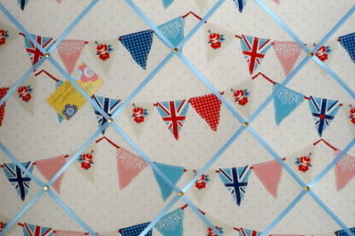 Large Fryetts Blue Union Jack Bunting / Flag Hand Crafted Fabric Memory / N