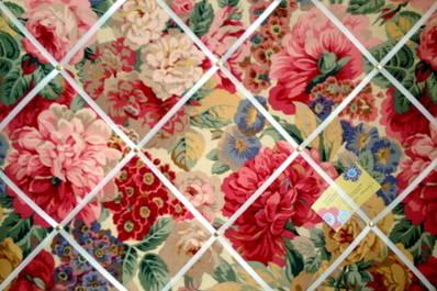 Sanderson Rose & Peony Hand Crafted Fabric Memory / Notice / Pin / Memo Boa
