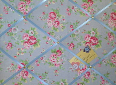 Medium Cath Kidston Blue Spray Flowers Hand Crafted Fabric Notice / Pin / M