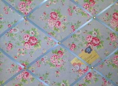 Medium Cath Kidston Blue Spray Flowers Hand Crafted Fabric Notice / Pin / M