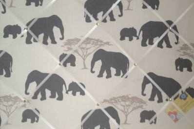 Large Marson Elephants Grey Hand Crafted Fabric Notice / Pin / Memo / Memor