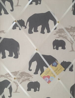 Medium Marson Elephants Grey Hand Crafted Fabric Notice / Memory / Pin / Me