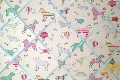 Large Woof Dogs Turquoise Hand Crafted Fabric Memory / Notice / Pin / Memo