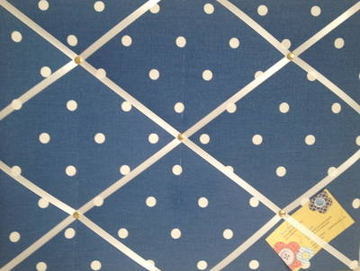 Medium Clarke & Clarke Denim Blue Dotty Hand Crafted Fabric Notice / Memory
