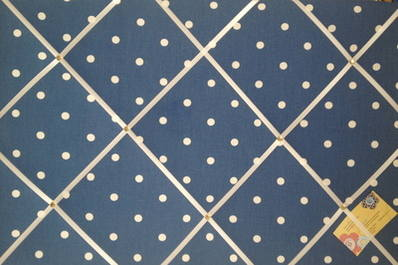Large Clarke & Clarke Denim Blue Dotty Hand Crafted Fabric Notice / Memory