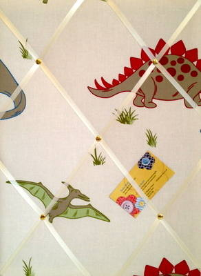 Medium Laura Ashley Dinosaurs / Dinosaur Hand Crafted Fabric Notice / Pin /
