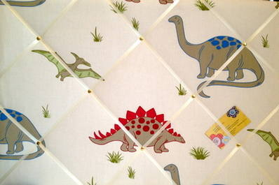 Large Laura Ashley Dinosaurs / Dinosaur Hand Crafted Fabric Notice / Pin /