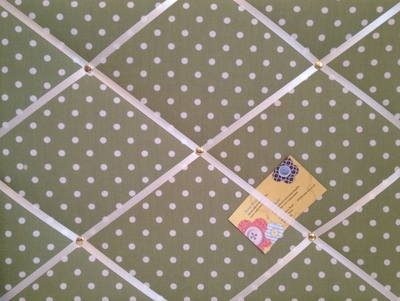 Medium Green & White Polka Dot Spot Hand Crafted Fabric Notice / Pin / Memo