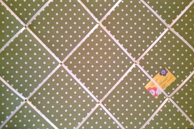 Large Green & White Polka Dot / Spot Hand Crafted Fabric Notice / Memory /