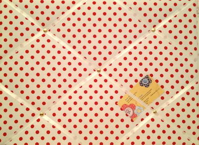 Medium Red & White Polka Dot Spot Hand Crafted Fabric Notice / Pin / Memo /