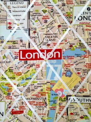 Medium London City Map Hand Crafted Fabric Notice / Memory / Pin / Memo Boa