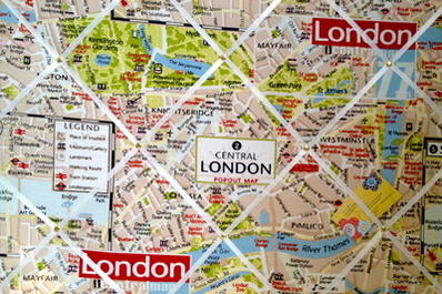 London City Map Hand Crafted Fabric Notice / Pin / Memo / Memory Board