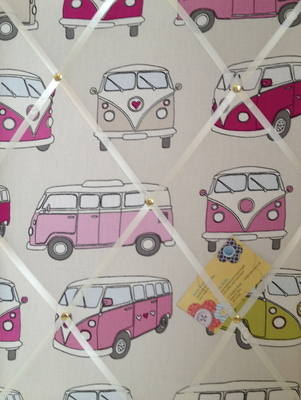 Medium Fryetts Pink Campervan Hand Crafted Fabric Notice / Memory / Pin / M