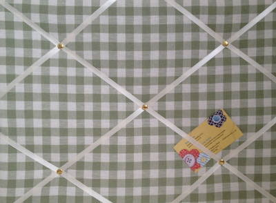 Medium Laura Ashley Heath Green Gingham Hand Crafted Fabric Notice / Pin /