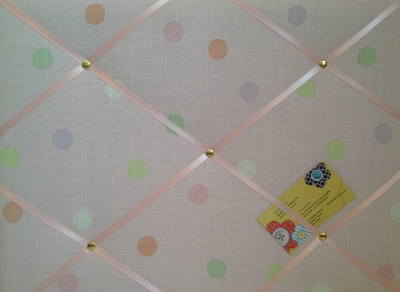 Medium Laura Ashley Pink Mollie Spot Hand Crafted Fabric Notice / Pin / Mem