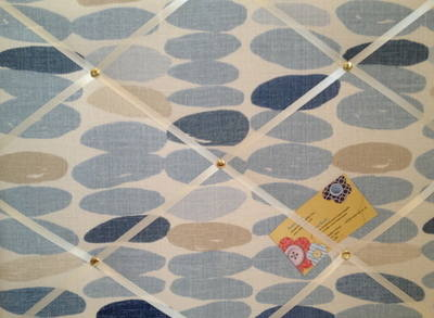 Medium Laura Ashley Wallace Natural Seaspray Hand Crafted Fabric Notice / P