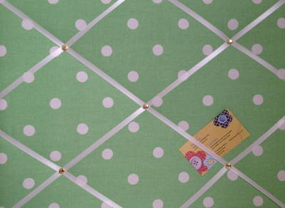 Medium Cath Kidston Green Spot Hand Crafted Fabric Notice / Pin / Memo Boar