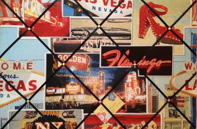 Large Las Vegas American Casino Print Hand Crafted Fabric Notice / Memory /