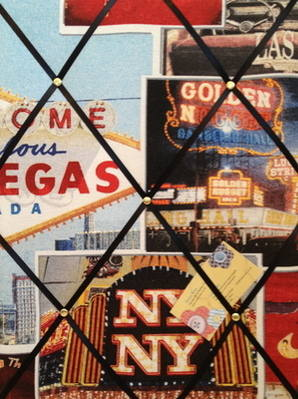 Medium Las Vegas American Casino Print Hand Crafted Fabric Notice / Memory