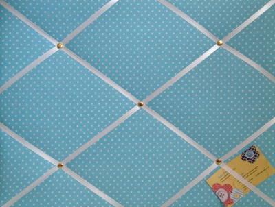Medium Blue Polka Dot / Spot Hand Crafted Fabric Notice / Memory / Pin / Me