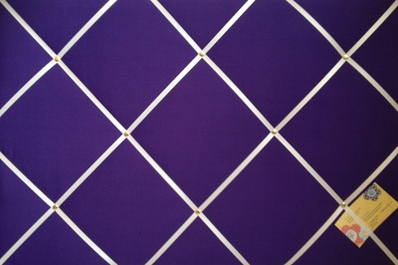 Large Purple with White Ribbon Hand Crafted Fabric Notice / Memory / Pin /