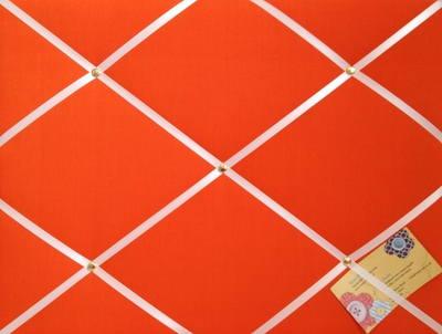 Medium Orange Hand Crafted Fabric Notice / Pin / Memo / Memory Board with w