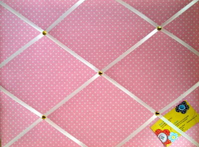 Medium Pink Polka Dot / Spot Hand Crafted Fabric Notice / Memory / Pin / Me