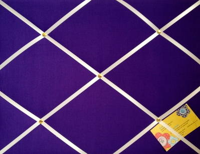 Medium Purple Hand Crafted Fabric Notice / Pin / Memo / Memory Board with w