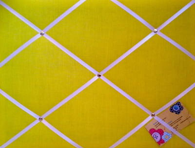 Medium Yellow Hand Crafted Fabric Notice / Pin / Memo / Memory Board with w