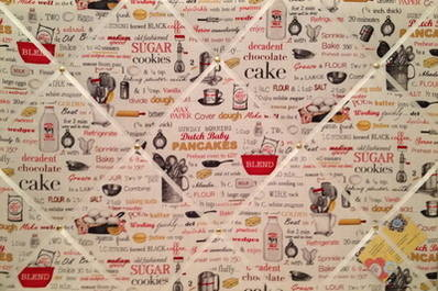 Large Robert Kiss the Cook Recipe Ingredients Hand Crafted Fabric Memory /