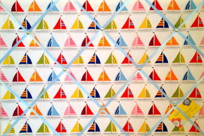 Large Michael Miller Sail Sailing Boats Hand Crafted Fabric Memory / Notice