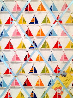 Medium Michael Miller Sail Sailing Boats Hand Crafted Fabric Notice / Memor
