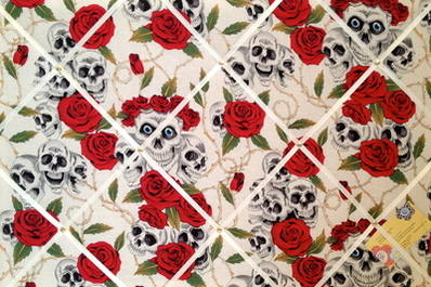 Large Red & White  Skull / Skulls, Roses & Thorns Hand Crafted Fabric Memor