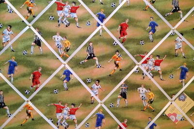 Large Green Football Fever Soccer Footie Print Hand Crafted Fabric Memory /