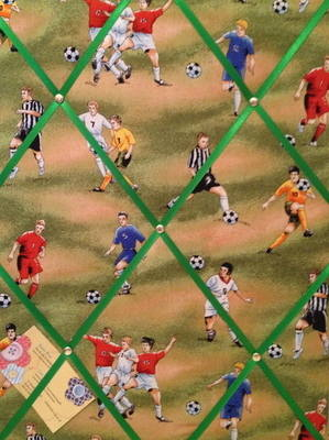 Medium Green Football Fever Soccer Footie Print Hand Crafted Fabric Notice