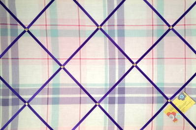 Large Next Check Ruffle Pink Lilac Hand Crafted Fabric Notice / Memory / Pi