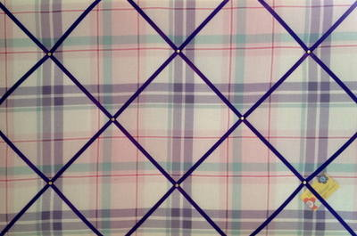 Extra Large Next Check Ruffle Lilac Pink Hand Crafted Fabric Notice / Pin /