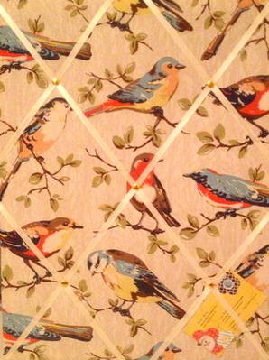 Medium 40x30cm Cath Kidston Garden Bird Hand Crafted Fabric Notice / Pin /