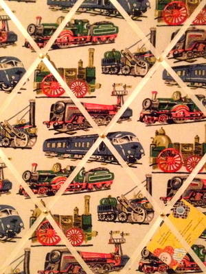 Medium 40x30cm Cath Kidston Trains / Train Hand Crafted Fabric Notice / Pin