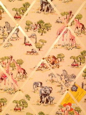 Medium 40x30cm Cath Kidston Safari Hand Crafted Fabric Notice / Pin / Memo