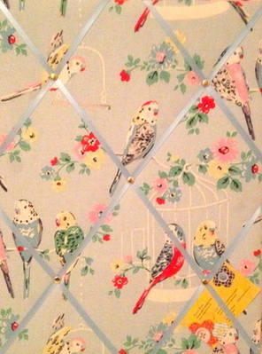Medium 40x30cm Cath Kidston Big Budgies / Budgie Hand Crafted Fabric Notice